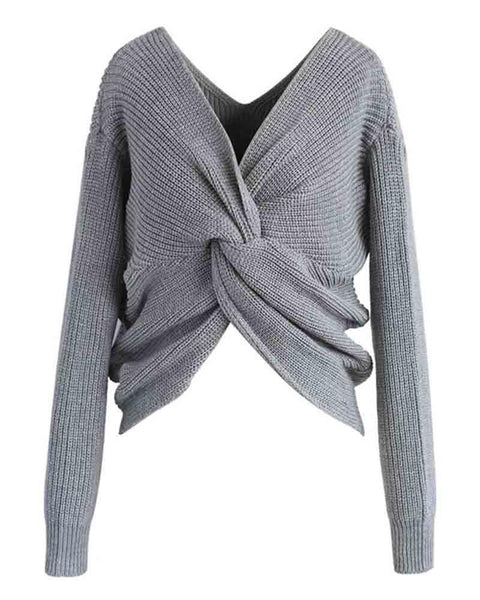 V Neck Drop Shoulder Reversible Twist Sweater