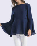 V Neck Fluted Sleeve Blouse