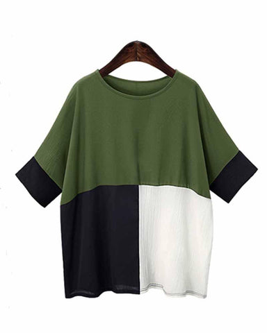 Army Green Color Block Contrast Batwing Sleeve Tee