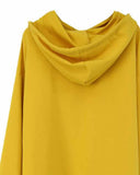 Yellow Slogan Print Drop Shoulder Dip Hem Hoodie