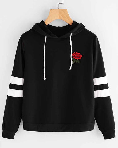 Black Rose Embroidered Patch Color block Striped Hoodie