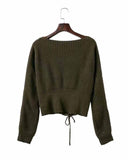 Army Green Lace Up Crop Sweater
