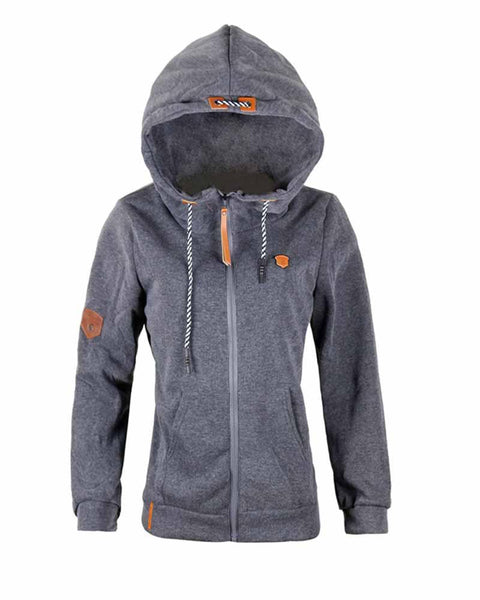 Grey Patch Zip Front Pocket Drawcord Hoodie
