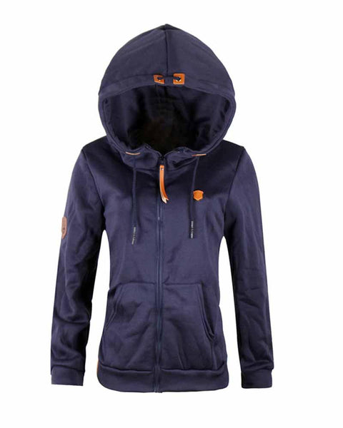 Navy Patch Zip Front Pocket Drawcord Hoodie