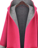 Red Contrast Lining Slit Side With Pockets Hooded Coat