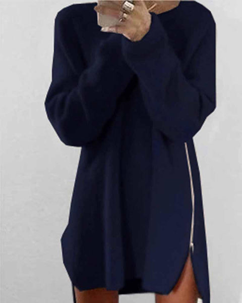 Casual Navy Zip Side Dip Hem Sweater