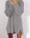 Casual Grey Zip Side Dip Hem Sweater
