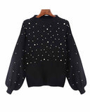 Pearl Beaded Lantern Sleeve Black Sweater