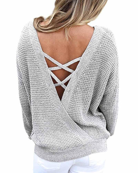Plain Grey V Neck Criss Cross Bare Back Sweater
