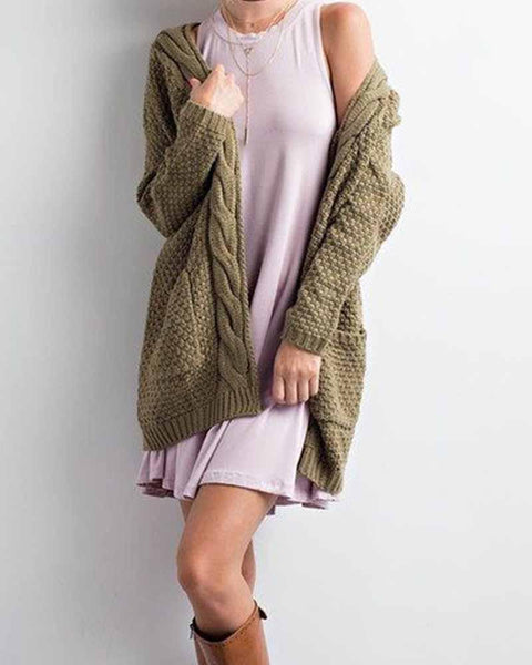 Plain Twist Hem Drop Shoulder Knit Cardigan