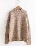 Plain Drop Shoulder Ribbed Trim Sweater