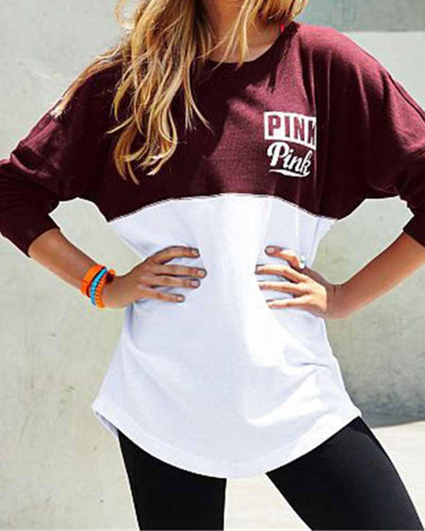 Slogan Print Color Block Contrast Sweatshirt
