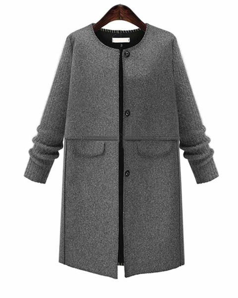 Plain Contrast Single Breasted Coat