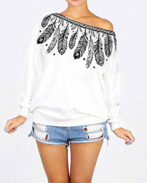 Feather Print One Shoulder Boyfriend Style Sweatshirt