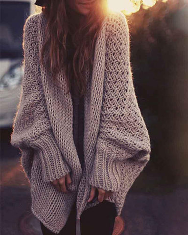 Plain Open Front Batwing Sleeve Cardigan