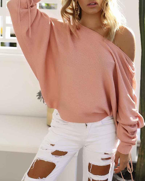 Plain One Shoulder Drawstring Sleeve Ribbed Sweater