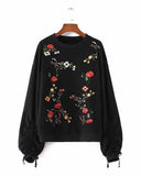 Black Flower Embroidered Drawstring Sleeve Sweatshirt