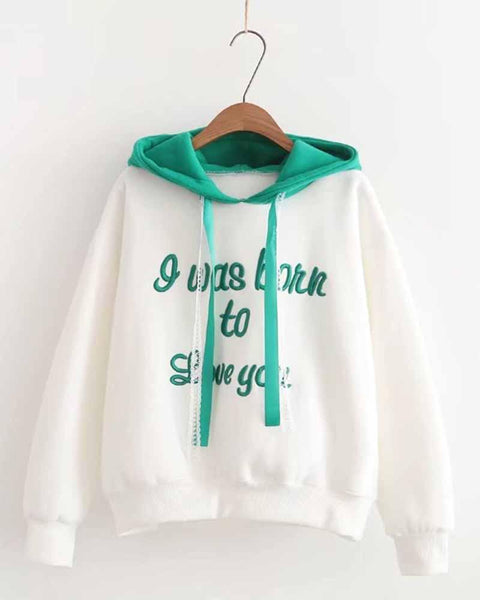 Slogan Embroidered Color Block Drawstring Hoodie