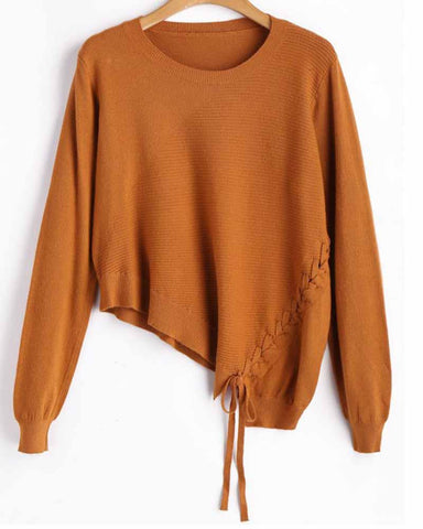 Asymmetric Lace Up Sweater