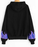 Black Color Block Slogan Print Kangaroo Pocket Hoodie