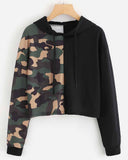 Color Block Camo Print Cropped Hoodie