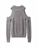 Plain High Neck Cold Shoulder Sweater