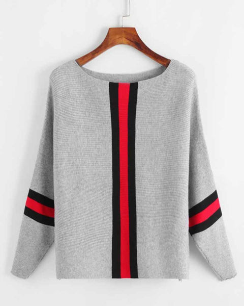 Contrast Striped Trim Batwing Sleeve Sweater
