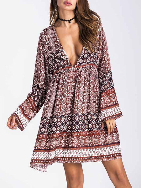 Polychrome Tribal Print Deep V-Neck Open Back Boho Dress