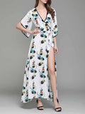White Plunge Tie Waist Thigh Split Print Flare Sleeve Maxi Dress