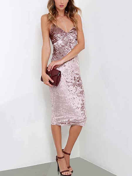 Pink Velvet Spaghetti Strap Plunge Open Back Bodycon Dress