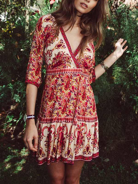 Red V-neck Print Detail Mini Dress