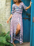 Pink V-neck Print Detail Button Front Maxi Dress