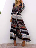 Brown Vintage Tribal Print V Neck Split Maxi Dress