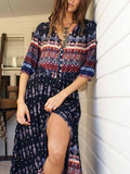 Navy Blue Tribal Print Split Vintage Maxi Dress