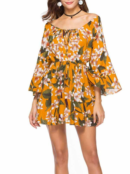 Yellow Off Shoulder Print Detail Long Sleeve Mini Dress