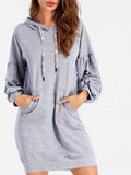 Gray Beaded Hooded Sweat Dress
