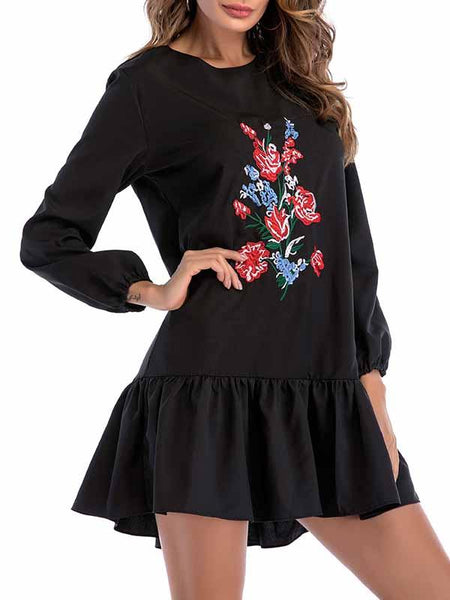 Black Floral Embroidery Long Sleeve Mini Dress
