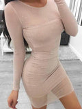 Beige Sequin Detail Long Sleeve Mesh Mini Dress