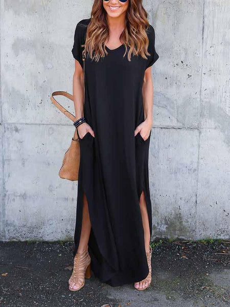 Black V-neck Split Side Maxi Dress