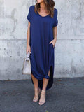 Blue V-neck Split Side Maxi Dress