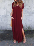 Burgundy V-neck Split Side Maxi Dress