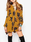 Yellow Print Detail Long Sleeve Mini Dress