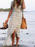 Beige Tie Waist Checker Print Hi-Lo Dress