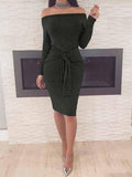 Black Off Shoulder Bow Front Long Sleeve Dress
