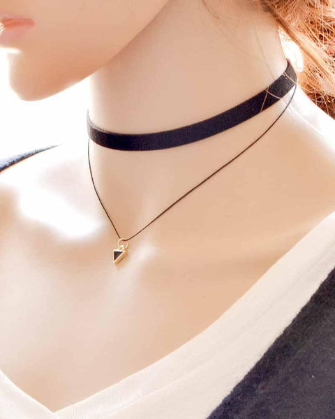 Layered Triangle Pendant Choker Necklace