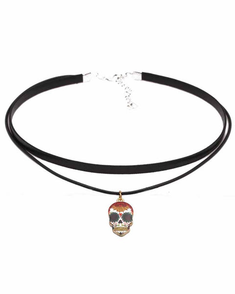 Layered Skeleton Pendant Choker Necklace