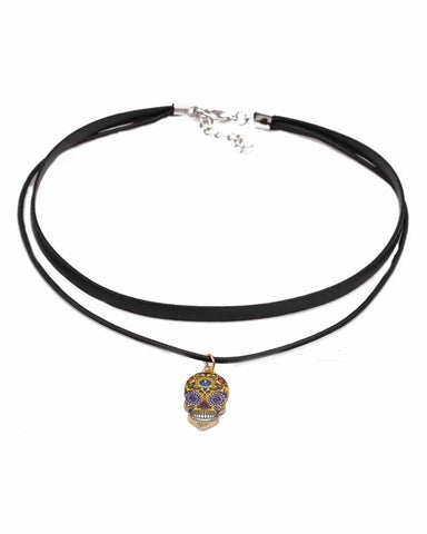 Layered Multicolor Skeleton Pendant Choker Necklace