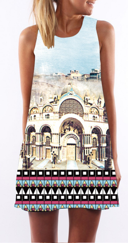 Antient Palace Print Sleeveless Shift Dress