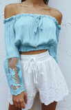 Blue Sheer Lace Sleeves Bandeau Top