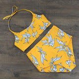 Yellow Floral Print Crop Halter High Waisted  Push Up Two Piece Bikini Set